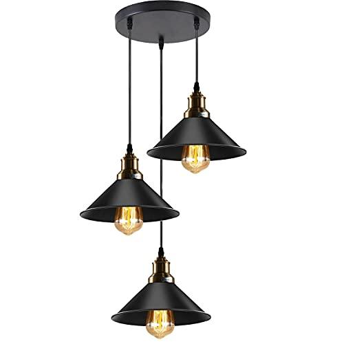 LEDSone Lámpara colgante moderna vintage negra de 3 vías, con pantalla de cono suspendida, triple colgante de techo con cable ajustable para isla de cocina, sala de estar, comedor
