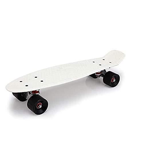 PHLPS Mini monopatín de Crucero, Placa de Skate Completa, Regalo de niños, 22 Pulgadas, Tablero de plástico translúcido, para Principiantes con Cubierta Robusta (Color : Negro)