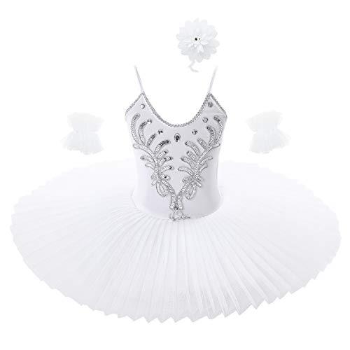iixpin 3Pcs Vestito da Danza Lago dei Cigni Balletto Bambina Paillettes Ballerina tutù Abito da Danza Classica Body Ginnastica Leotards Costume Carnevale Dancewear Bianco A 5-6 Anni