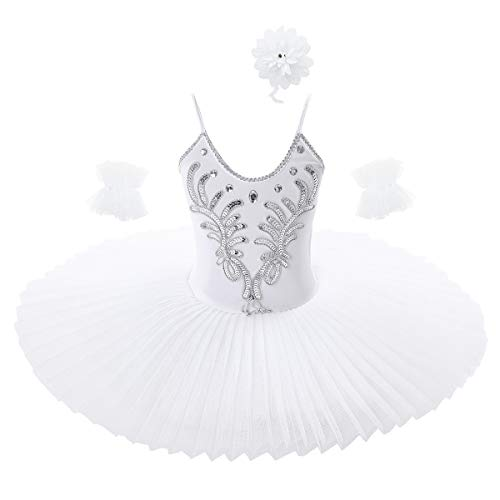 Yeahdor Vestido de Ballet Danza Cisne Niña Elegante Maillot Gimnasia Ballet Vestido Lentejuelas Tutú Ballet Disfraz Bailarina Actuación Blanco 8-10 años