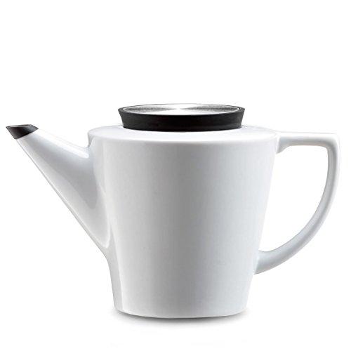 Teekanne Porzellan weiß mit Teesieb für losen Tee, Deckel Schwarz und Anti Tropf Finishing, 1.2 Liter