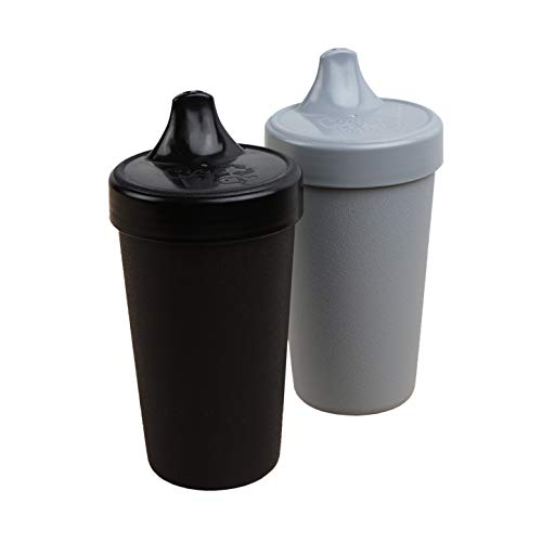 Re-Play 2pk - 10 oz. No Spill Sippy Cups | 1 Piece Silicone Easy Clean Valve | BPA Free | Eco Friendly Heavyweight Recycled Milk Jugs are Virtually Indestructible | Black, Grey