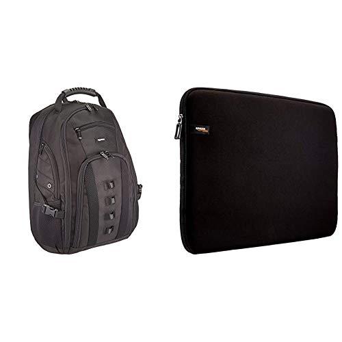 AmazonBasics Adventure Mochila para portátil de hasta 17 pulgadas + Funda protectora para portátiles de 17.3', negro