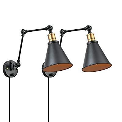 Vintage Wall Lamp Industrial Wall Sconces with Swing Arm Black and Brass Matte Finish 2 Pack