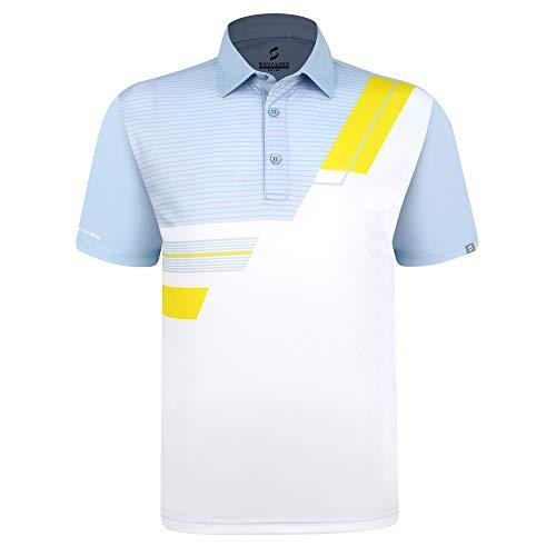 SAVALINO Men's Bowling Polo Shirts Light Material Wicks Sweat & Dries Fast, New Finishing Technologies to Combat Smell with Material Wicks Sweats & Dries Fast 5XL Light Blue