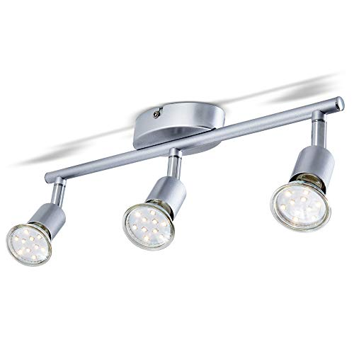 B.K.Licht I LED Deckenleuchte I Schwenkbar I inkl. 3x 3W GU10 Leuchtmittel I 3x 250lm I warmweiße Lichtfarbe I Titanfarben I Deckenstrahler I Deckenlampe I Deckenspot