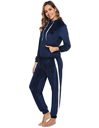 Sykooria Zweiteiler Damen Jogginganzug, Samt Trainingsanzug Damen Hausanzug mit Kapuze und Reißverschluss & Jogginghose mit Streifen