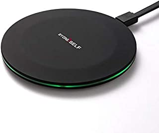 BYONDSELF Fast Wireless Charger 10W -Ultra-Thin Fast Induction Wireless Charging- Compatible with iPhone/Galaxy and More -Black(NO AC Adapter)