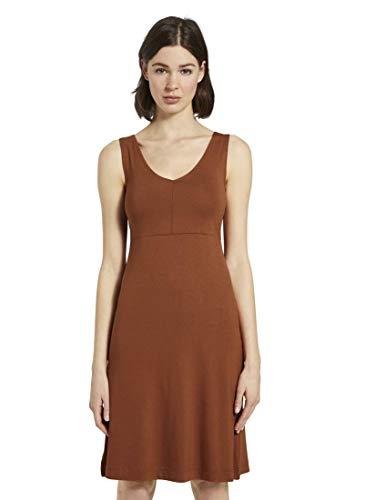 TOM TAILOR Damen Kleider & Jumpsuits Gemustertes Kleid mit V-Ausschnitt Goji Orange,42