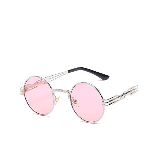 FGRYGF-eyewear2 Gafas de sol deportivas, gafas de sol vintage, Vintage Retro Gothic Steampunk Mirror Sunglasses Gold And Black Sun Glasses Vintage Round Circle Men UV Gafas De Sol Silver Pink