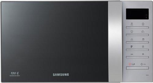 Samsung ME-86V-SSX - Microondas con lavado automático, interior de cerámica (23 litros, 800 vatios), negro - gris