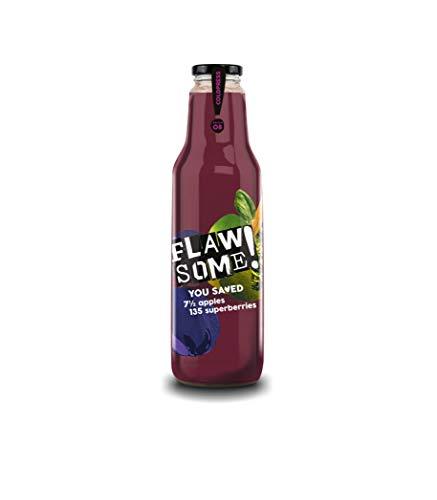 Flawsome! Apfel-Superberry Saft 6x 0,75L | Kaltgepresster Saft mit fruchtigem Geschmack | kein Zuckerzusatz | vegan | glutenfrei Fruchtsaft in hochwertigen Glasflaschen | Kaltgepresste Säfte