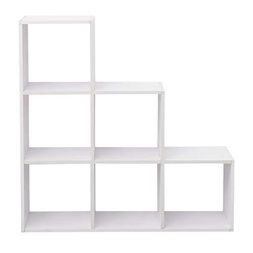 Rebecca Mobili Libreria Scala Scaffale Bianco Legno 6 Scompartimenti Camera da Letto Soggiorno Design Moderno Organizzazione Libri Soprammobili (cod. RE6039)