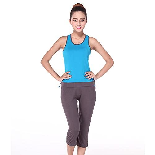 qqff Ropa de Fitness de baño en la Playa,Fitness Sports Running Wear,Yoga Wear Conjunto de Dos Piezas-Azul Gris 2_L,Ropa de Culturismo Ajustada para Nadar