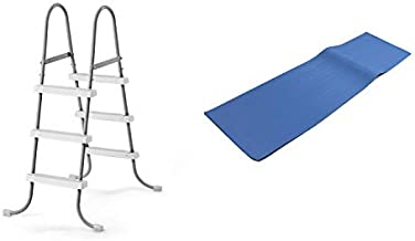 Intex Above Ground Steel Frame Pool Ladder 42-Inch + Protective Pool Ladder Mat