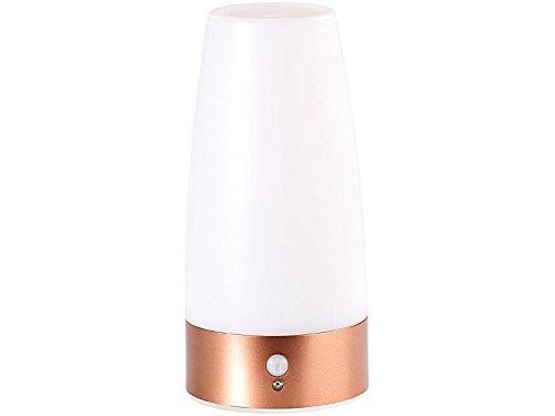 Lunartec Nachttischlampe Batterie: LED-Tischlampe mit PIR-Bewegungs-Sensor, batteriebetrieben, warmweiß (Tischlampe mit Bewegungsmelder)