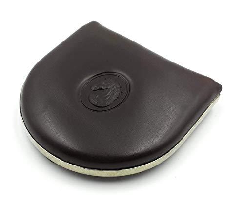franartPiel - Monedero de tacón clásico Piel Ubrique con refuerzo de metal - Alta Calidad (Marrón)