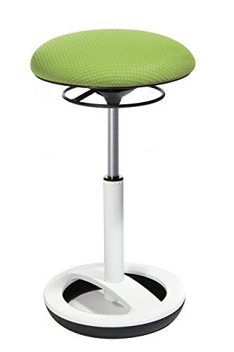 Topstar Sitness High Bob, Stehhilfe, Fitnesshocker, Arbeitshocker, Sitzhöhe: 49 - 70cm, Standfußring Alu weiß lackiert, Stoffbezug, grün