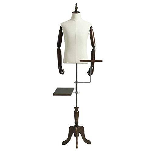 Maniqui Costura Torso de maniquí de Sastre Masculino Premium con Altura Ajustable y Base de Madera Windowshop/Window/Counter/Tiered (Color : Style 3)