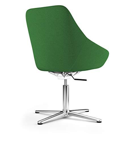 Viasit Calyx Lounge-Sessel, Stoff grün mit Fußkreuz Aluminium