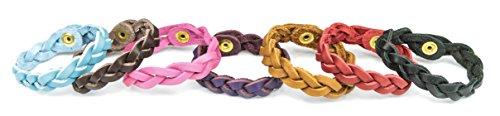 Genuine Leather Braided Essential Oil Diffuser Bracelet Set of 7 (Child)