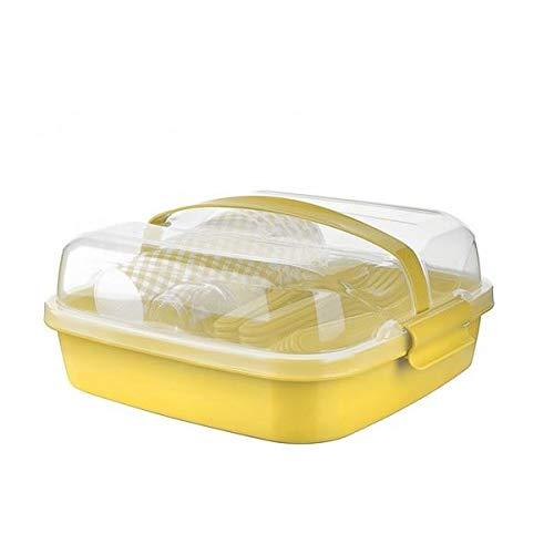 BEFA Picknick Set 6 Personen | BPA Freies Gesundes Plastik | Plastikbesteck Gabel, Messer, Löffel, Teller, Becher, Salzstreuer | Picknickkorb | Picknicktasche (Gelb)