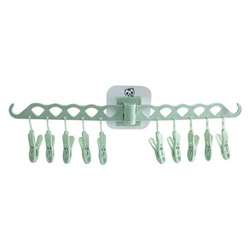 10 Peg Green Tendedero de plástico, clip plegable para montar en la pared y barra de goteo, secador de sujetador autoadhesivo para secar toallas, ropa interior, ropa de bebé, calcetines