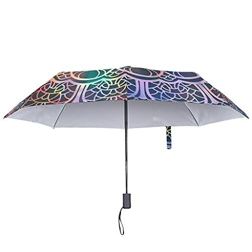 Sombrilla mágica con diseño de flores para abrir/cerrar, resistente al agua, estilo bohemio, con funda impermeable, White (Blanco) - Lind88-UBR