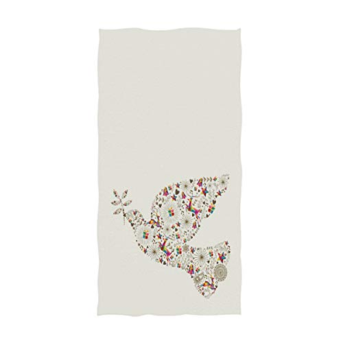 ZzWwR Vintage Peace Dove Shape with Colorful Reindeer Christmas Decorative Soft Highly Absorbent Guest Large Home Hand Towels Multipurpose for Bathroom, Hotel, Gym and Spa (16 x 30 Inches,Beige)