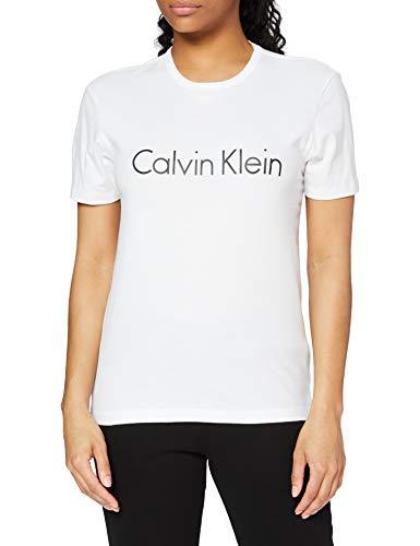 Calvin Klein S/s Crew Neck Top Pigiama, Bianco (White 100), 40 (Taglia Produttore: X-Small) Donna
