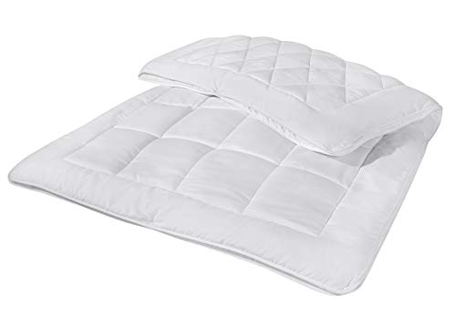 Schlafwohl Silver 3in1 Steppbett | 4 Jahreszeiten Bettdecken 135 x 200 Set 2-teilig | 2 Steppdecken mit Druckknöpfen - Waschbar & Trocknergeeignet
