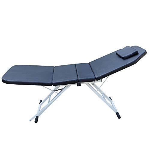 Mesa de masaje plegable, 3 secciones, plegable, portátil, para salón de belleza, salón de belleza, salón de belleza, salón de belleza, color negro