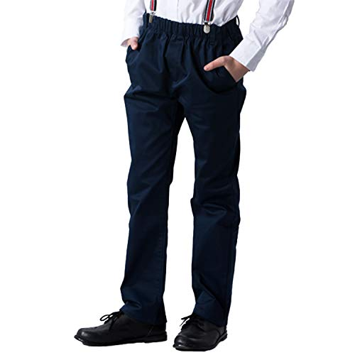 Leo&Lily Boys Kids 100% Cotton Twill Elastic Waist Regular Fit Pants Trousers (Navy,12) LLB4A01