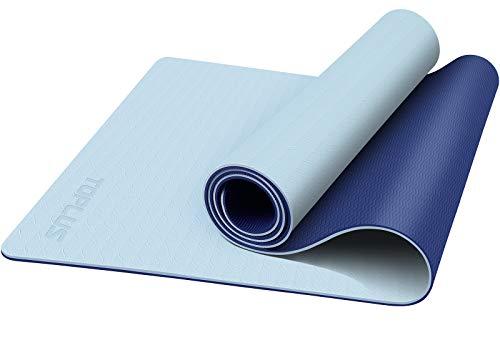 TOPLUS Yogamatte Gymnastikmatte Trainingsmatte Übungsmatte mit Tragegurt rutschfest gut für Anfänger bei Yoga für Fitness, Pilates & Gymnastik, 183 x 61CM (Dunkelblau & Hellblau)