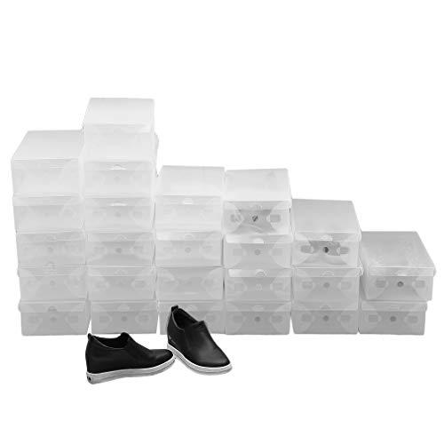 Homgrace 10 Cajas/12 Cajas/24 Cajas para Zapatos Transparente Plástico, Caja Guardar Zapatos, Calcetines, Juguetes, Cinturones para la organización de su hogar, Oficina (24 Cajas)