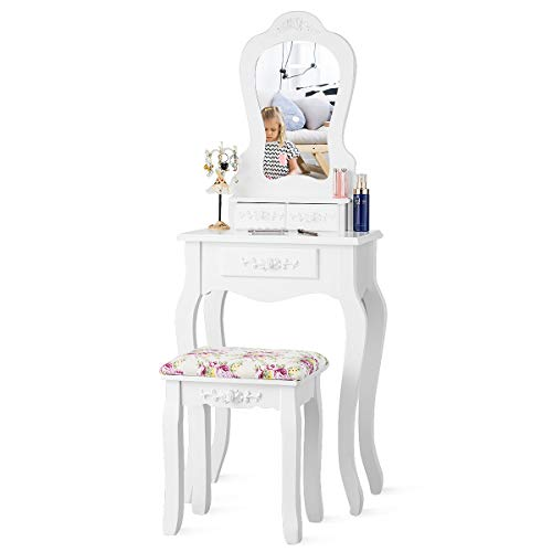 Giantex Vanity Set with 3 Drawers and Cushioned Stool, Makeup Dressing Table for Bathroom Bedroom Small Space, Vanity Table and Bench for Kids Girls Women Gifts (White)