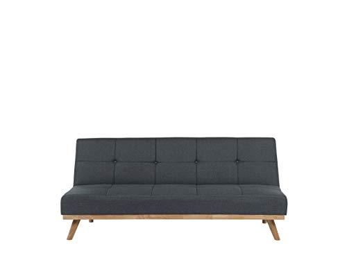 Beliani Schlafsofa Polsterbezug in Dunkelgrau modernes Sofa mit Schlaffunktion Couch Froya