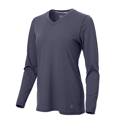 Arctic Cool Women's V-Neck Instant Cooling Moisture Wicking Performance UPF 50+ Long Sleeve Shirt | Lightweight Breathable Top for Running, Workout, Exercise, Fishing, Storm Grey, XL