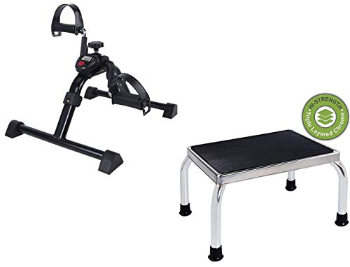 Vaunn Medical Mobility Assistance Bundle - Electronic Pedal Exerciser and Foot Step Stool