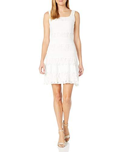 Julian Taylor Women's Sleeveless Pintuck and Lace Dress, Ivory, 12