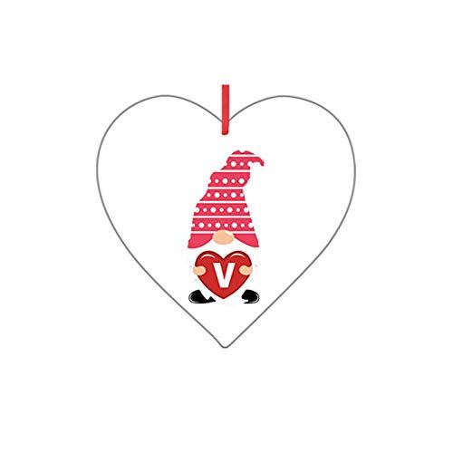 Gnomes - Adornos de corazón de San Valentín - Personalizables con adornos colgantes para la decoración del día de San Valentín, adornos decorativos colgantes para el día de San Valentín