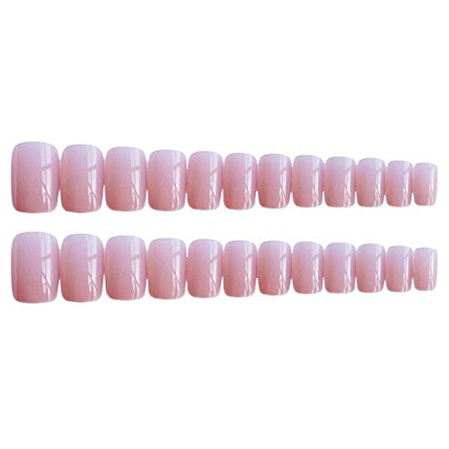 rpbll 24pcs Cute Sweet Jelly Pink Artificial Nails Patches Ins Korean Pure Color Medium Length Square False Nails with Glue press on as show