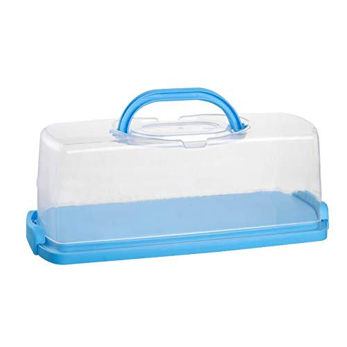 Portable Plastic Rectangular Loaf Bread Box with Transparent Lid, Bread Keeper for Carrying and Storing Loaf Cakes,Banana Bread,Pumpkin Bread,Quick Breads(Blue, 1 Pack)
