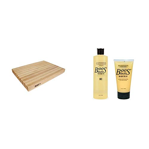 John Boos Block RA03 Maple Wood Edge Grain Reversible Cutting Board, 24 Inches x 18 x 2.25 Inches & Block MYSCRM Essential Mystery Oil and Board Cream Care and Maintenance Set