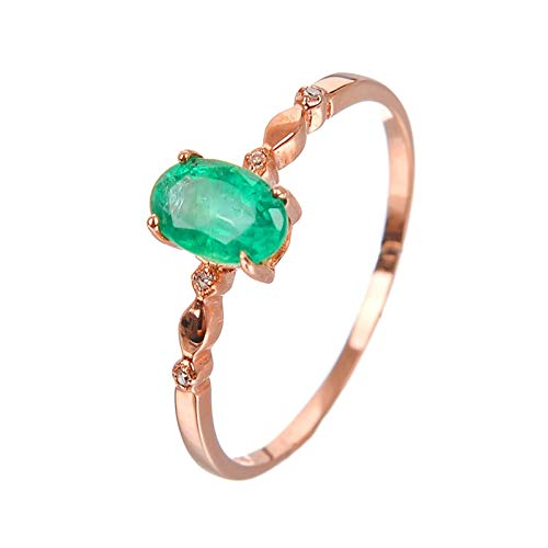 Aartoil Women's 18K Rose Gold Wedding Engagement Ring Thin Band Oval Emerald Size O 1/2