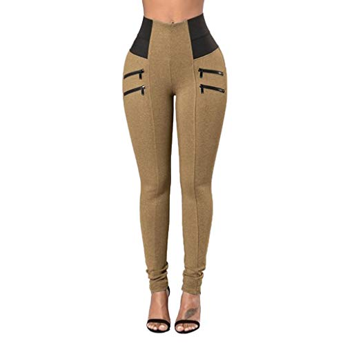 WOZOW Damen Dünn Skinny Stoffhose Solid Color Block Patchwork High Waist Zipper Sweathose Chino Hose Casual Slim Lang Long Stoffhose Trousers...