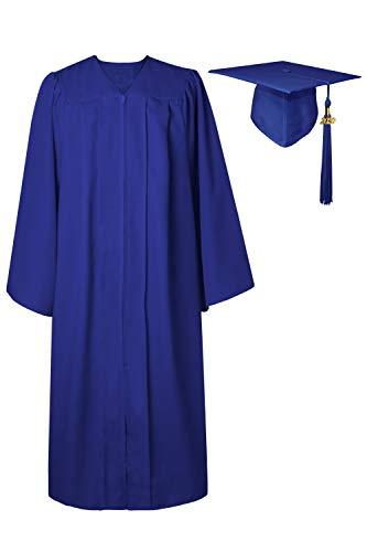 GraduatePro Abschluss Robe Hut Abi Kostüm Bachelor Geschenke Dekoration 2020 Geschenk Outfit Akademischer Uni Abitur Kappe Königsblau