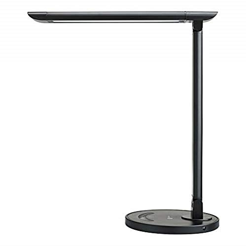 TaoTronics LED Desk Lamp Eye-caring Table Lamps, Dimmable Office Lamp with USB Charging Port, Touch Control, 5 Color Modes, Black, 12W (Renewed)