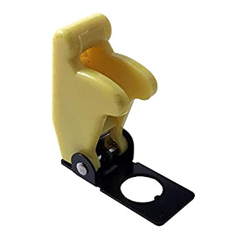 2  Yellow Flip Up Toggle Switch Guard Safety Cover - Aircraft Style - UK Made