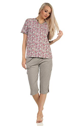NORMANN-Wäschefabrik Damen Capri Pyjama Kurzarm mit Herzen als Motiv in Melange-Optik - auch in Übergrössen, Farbe:grau, Größe:44-46